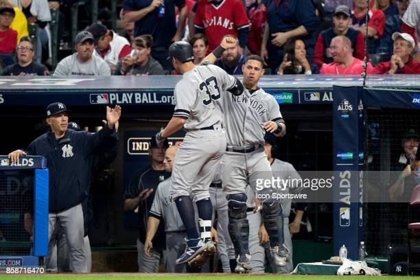 New York Yankees first baseman Greg Bird and New York Yankees catcher Gary Sanchez celebrate after Bird his a 2run home run during the fifth inning...