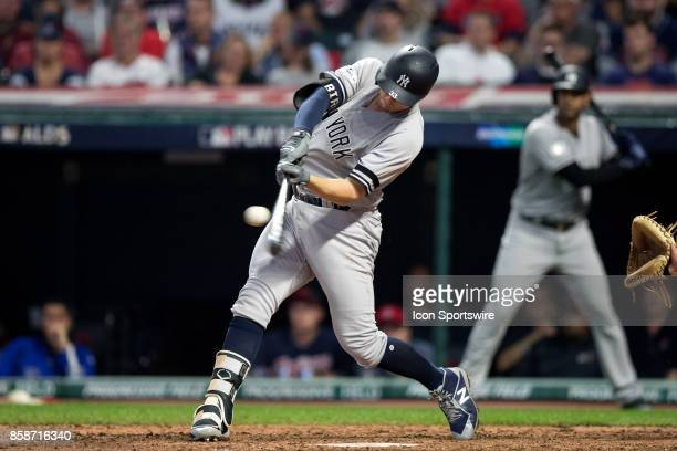 New York Yankees first baseman Greg Bird belts a 2run home run during the fifth inning of the 2017 American League Divisional Series Game 2 between...