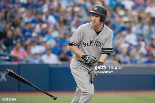 New York Yankees First baseman Greg Bird earns a walk during the regular season MLB game between the New York Yankees and the Toronto Blue Jays on...