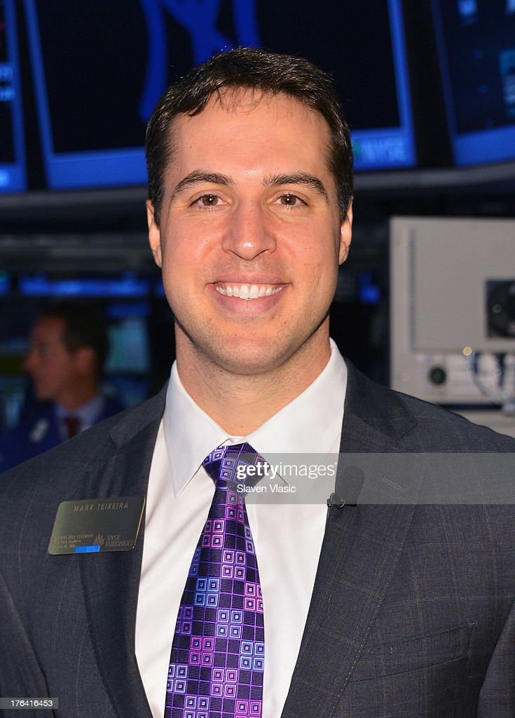 New York Yankees' First Baseman Mark Teixeira visits the New York Stock Exchange on August 12, 2013 in New York City.