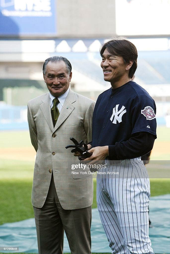 New York Yankees' Hideki Matsui spends time with his former manager with the Tokyo Yomiuri Giants Shigeo Nagashima prior to a game between the Yanks...