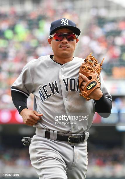 New York Yankees Infield Ronald Torreyes heads to the dugout during a MLB game between the Minnesota Twins and New York Yankees on July 19 2017 at...