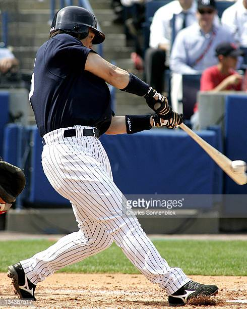 New York Yankees infielder Hideki Matsui hits a line drive in a spring training game against the St Louis Cardinals Tuesday March 14 2006 at Legends...