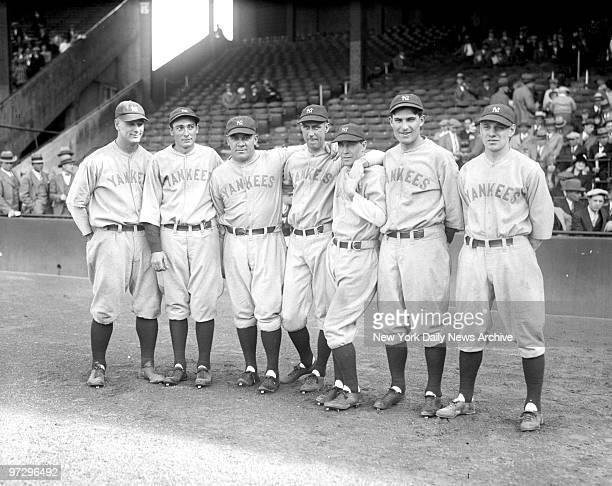 New York Yankees infielders Lou Gehrig Tony Lazzeri Pat Collins Joe Dugan Gene Robertson Mark Koeing and Leo Durocher