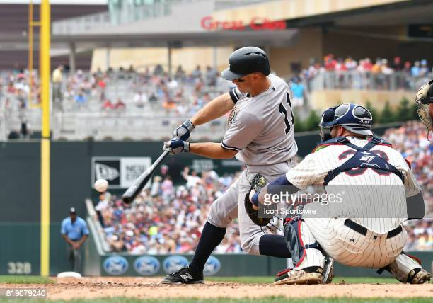 New York Yankees Left field Brett Gardner makes contact during a MLB game between the Minnesota Twins and New York Yankees on July 19 2017 at Target...