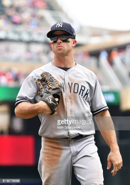 New York Yankees Left field Brett Gardner returns to the dugout during a MLB game between the Minnesota Twins and New York Yankees on July 19 2017 at...