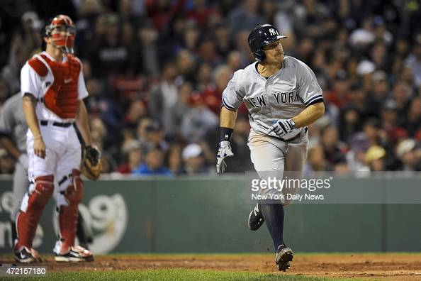 New York Yankees left fielder Brett Gardner 3 run home run 6th inning New York Yankees vs Boston Red Sox at Fenway Park Boston MA Sunday May 3 2015