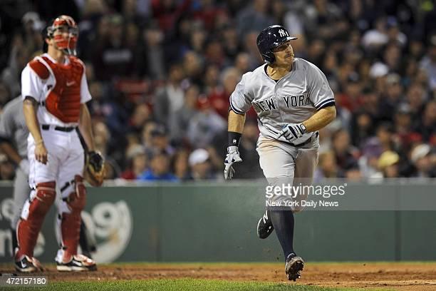 New York Yankees left fielder Brett Gardner 3 run home run 6th inning New York Yankees vs Boston Red Sox at Fenway Park Boston MA Sunday May 3 2015