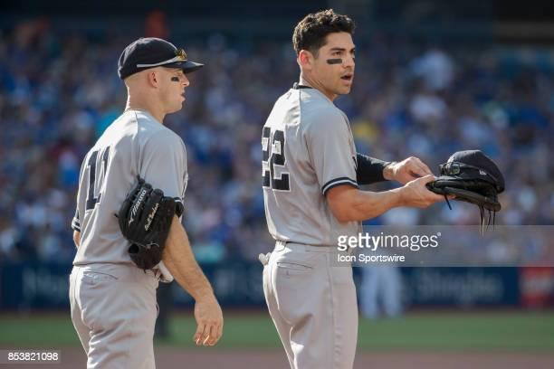 New York Yankees Left fielder Brett Gardner and teammate Outfielder Jacoby Ellsbury during the regular season MLB game between the New York Yankees...