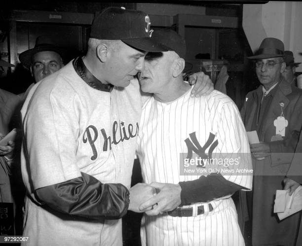 New York Yankees' manager Casey Stengel has a word with Philadelphia Phillies' manager Eddie Sawyer The Yankees beat the Phillies in the World Series