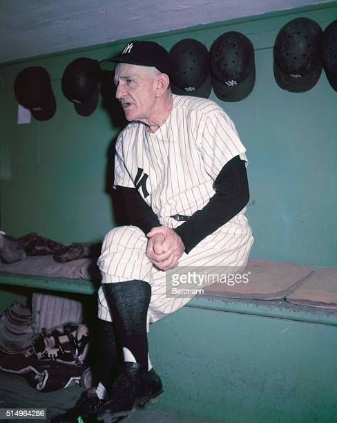 New York Yankees Manager Casey Stengel in dugout