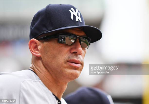 New York Yankees Manager Jo Girardi looks on during a MLB game between the Minnesota Twins and New York Yankees on July 19 2017 at Target Field in...