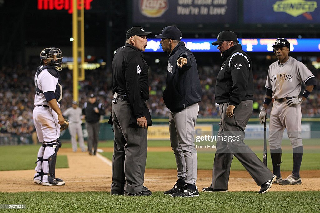 New York Yankees manager <a gi-track='captionPersonalityLinkClicked' href=/galleries/search?phrase=Joe+Girardi&family=editorial&specificpeople=208659 ng-click='$event.stopPropagation()'>Joe Girardi</a> #28 argues with home plate umpire Bob Davidson and gets ejected from the game during the seventh inning of the game against the Detroit Tigers at Comerica Park on June 2, 2012 in Detroit, Michigan. The Tigers defeated 4-3.