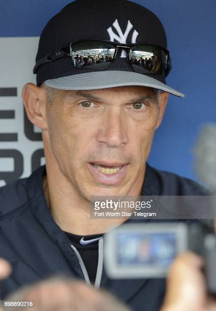 New York Yankees manager Joe Girardi talks to the media before a July 2014 game against the Texas Rangers at Globe Life Park in Arlington Texas
