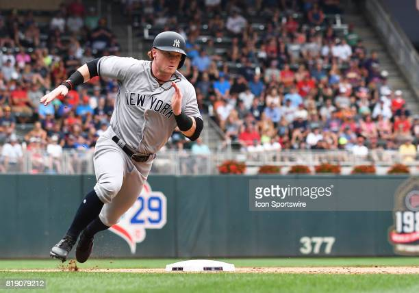 New York Yankees Outfield Clint Frazier rounds 3rd during a MLB game between the Minnesota Twins and New York Yankees on July 19 2017 at Target Field...