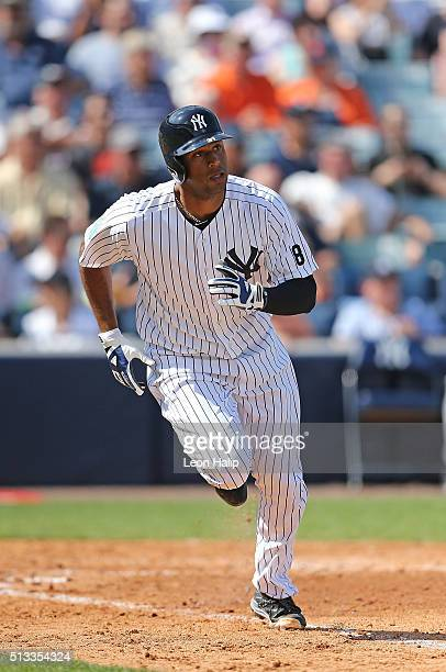 New York Yankees outfielder Aaron Hicks singles to right field during the fourth inning of the Spring Training Game against the Detroit Tigers at...