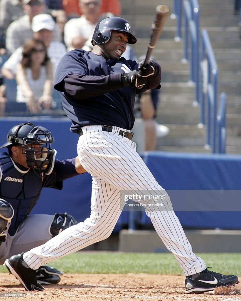 New York Yankees outfielder Bernie Williams (51) hits the ball hard against the Cleveland Indians, March 19, 2006 at Legends Field in Tampa, Florida.