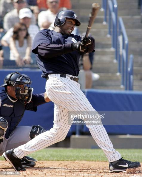 New York Yankees outfielder Bernie Williams hits the ball hard against the Cleveland Indians March 19 2006 at Legends Field in Tampa Florida