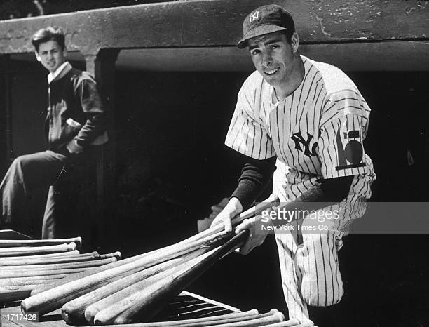 New York Yankees outfielder Joe DiMaggio holds a few baseball bats while in uniform circa 1939 in an undisclosed location Prior to being known as the...