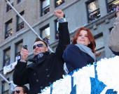 New York Yankees outfielder Nick Swisher actress Joanna Garcia attend 2009 New York Yankees World Series Victory Parade on November 6 2009 in New...