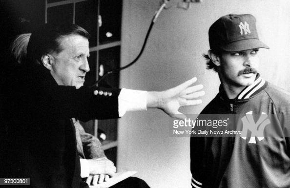 New York Yankees' owner George Steinbrenner gives some advice to first baseman Don Mattingly before the start of a game