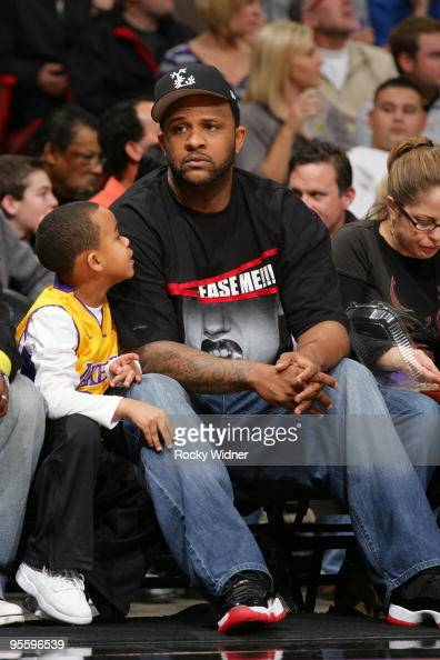 New York Yankees pitcher CC Sabathia attends the game between the Los Angeles Lakers and the Sacramento Kings at Arco Arena on December 26 2009 in...