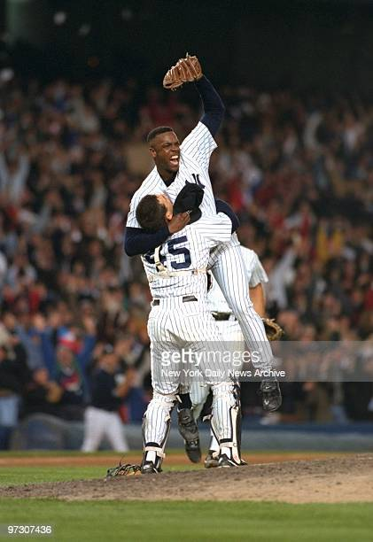 New York Yankees' pitcher Doc Gooden gives a cheer after pitching his first nohitter in game against the Seattle Mariners at Yankee Stadium