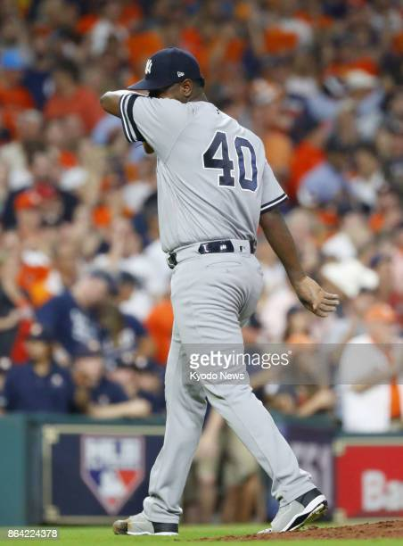 New York Yankees pitcher Luis Severino is pulled during the fifth inning of Games 6 of the American League Championship Series against the Houston...