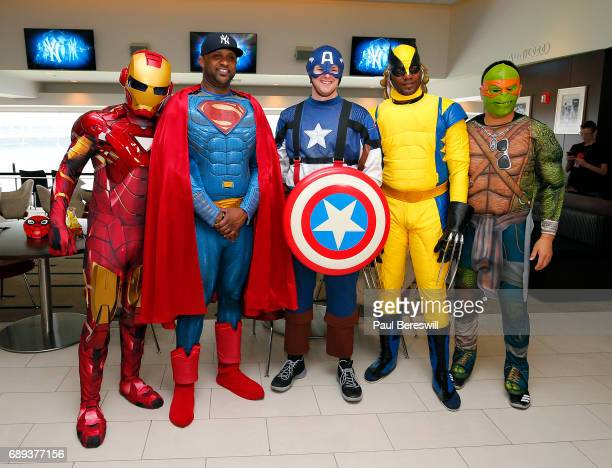 New York Yankees players Luis Severino dressed as Ironman CC Sabathia dressed as Superman Jordan Montgomery dressed as Captain America Michael Pineda...
