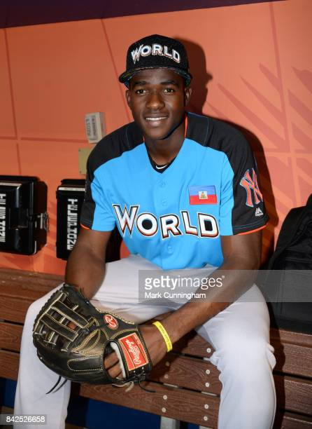 New York Yankees prospect Estevan Florial of the World Team poses for a photo prior to the 2017 SiriusXM AllStar Futures Game at Marlins Park on July...