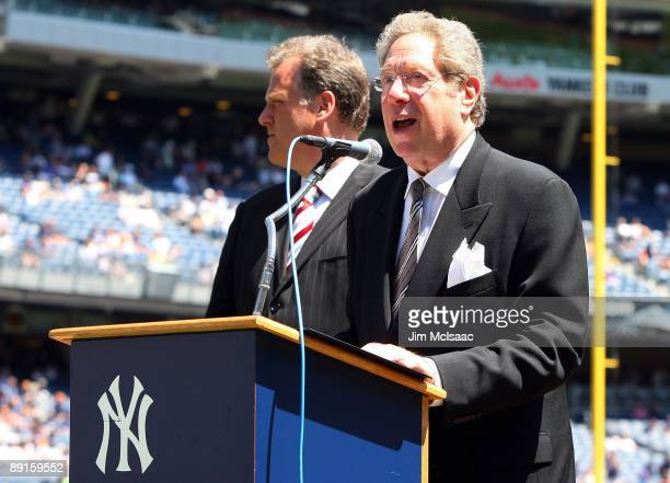New York Yankees radio broadcaster John Sterling speaks during the teams 63rd Old Timers Day before the game against the Detroit Tigers on July 19...