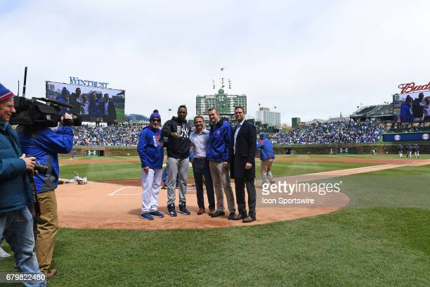 New York Yankees relief pitcher Aroldis Chapman poses for a photo with his 2016 Chicago Cubs World Series champion ring with manager Joe Maddon Jed...