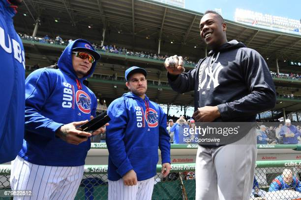 New York Yankees relief pitcher Aroldis Chapman shows off his 2016 Chicago Cubs World Series champion ring prior to a game between the New York...