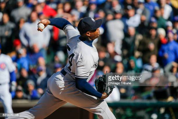New York Yankees relief pitcher Aroldis Chapman works in the ninth inning against the Chicago Cubs at Wrigley Field in Chicago on Friday May 5 2017