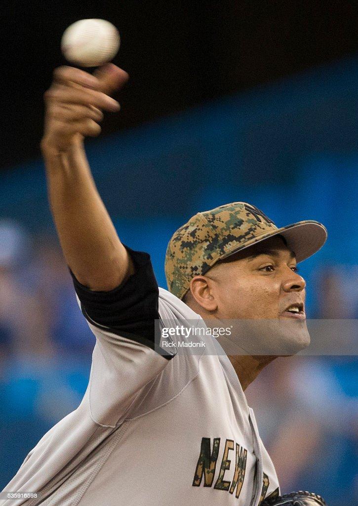 New York Yankees relief pitcher Ivan Nova (47) works the 1st inning. Toronto Blue Jays V New York Yankees in MLB regular season action at Rogers Centre. Toronto Star/Rick Madonik
