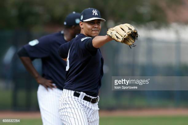 New York Yankees relief pitcher Justus Sheffield during a New York Yankees spring training workout on February 15 at George M Steinbrenner Field in...