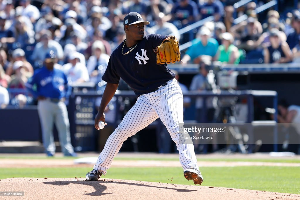 New York Yankees relief pitcher Luis Severino (40) delivers a pitch during the Spring Training game between the Toronto Blue Jays and New York Yankees on February 26, 2017, at George M. Steinbrenner Field in Tampa, FL.