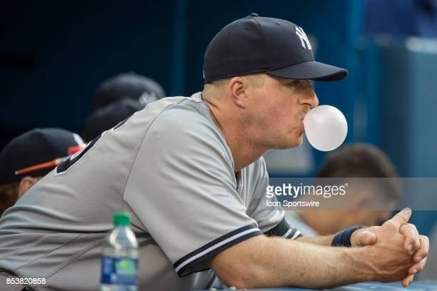 New York Yankees RH Pitcher Chasen Shreve in the dugout during the regular season MLB game between the New York Yankees and the Toronto Blue Jays on...
