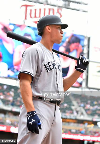 New York Yankees Right field Aaron Judge stands ondeck during a MLB game between the Minnesota Twins and New York Yankees on July 19 2017 at Target...