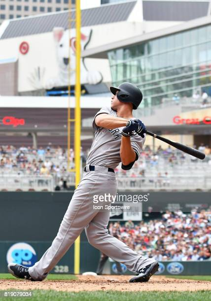 New York Yankees Right field Aaron Judge strikes out while pinchhitting during a MLB game between the Minnesota Twins and New York Yankees on July 19...