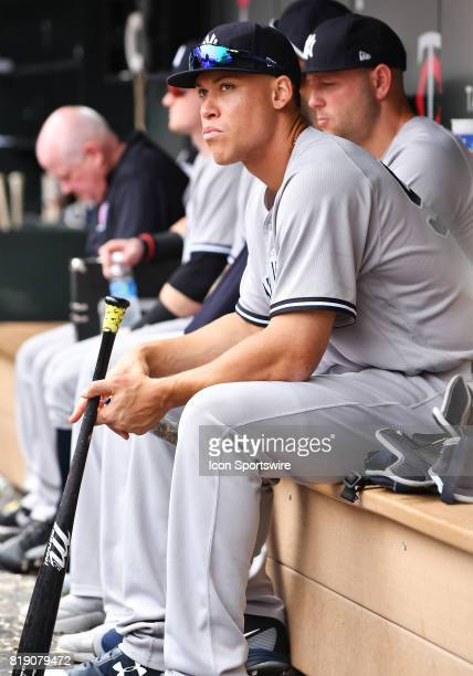 New York Yankees Right field Aaron Judge watches from the dugout during a MLB game between the Minnesota Twins and New York Yankees on July 19 2017...