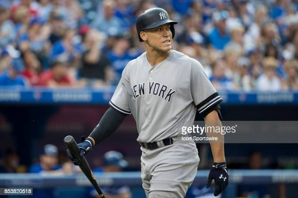 New York Yankees Right fielder Aaron Judge reacts after striking out during the regular season MLB game between the New York Yankees and the Toronto...