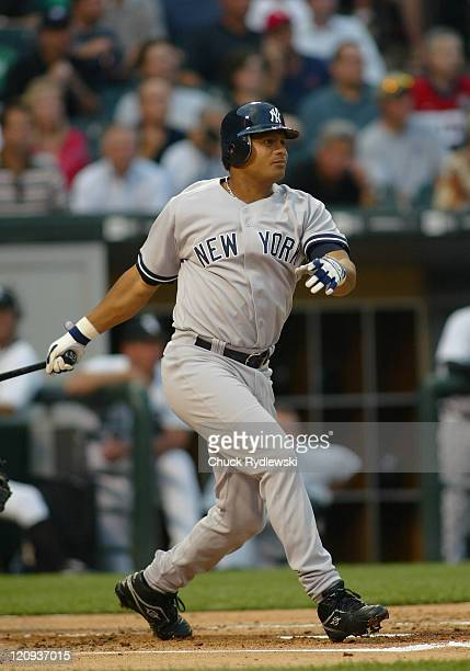 New York Yankees' Right Fielder Bobby Abreu singles in a run during the game against the Chicago White Sox August 9 2006 at US Cellular Field in...