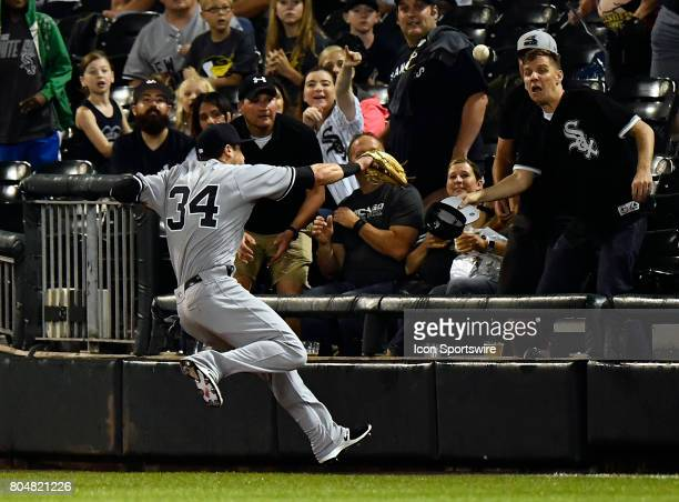 New York Yankees right fielder Dustin Fowler injures his leg after going after the foul ball the game after injuring his right leg during the game...
