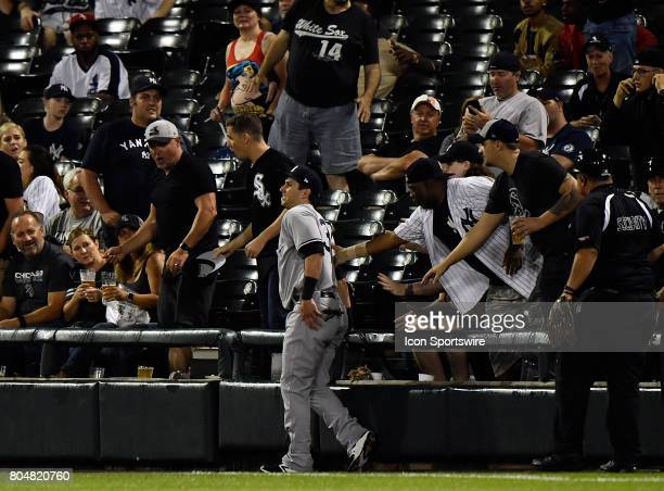 New York Yankees right fielder Dustin Fowler injures his leg going after a foul ball the game after injuring his right leg during the game between...