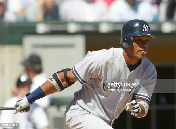 New York Yankees second baseman Robinson Cano batting during a game against the Chicago White Sox at US Cellular Field in Chicago Illinois on August...