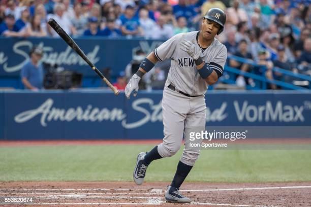 New York Yankees Second baseman Starlin Castro earns a walk during the regular season MLB game between the New York Yankees and the Toronto Blue Jays...