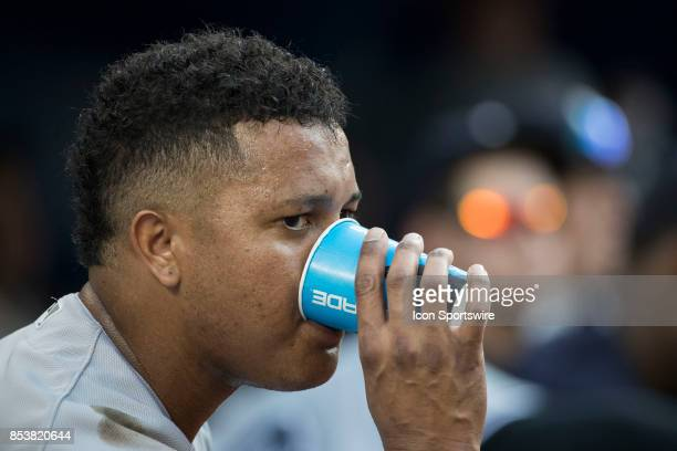 New York Yankees Second baseman Starlin Castro in the dugout during the regular season MLB game between the New York Yankees and the Toronto Blue...