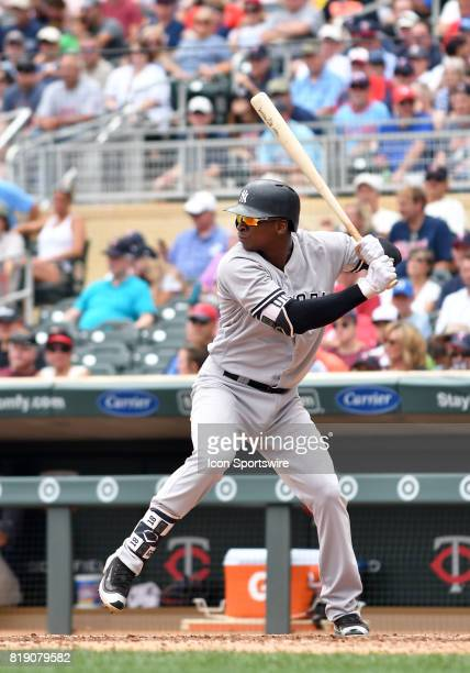 New York Yankees Shortstop Didi Gregorius at the plate during a MLB game between the Minnesota Twins and New York Yankees on July 19 2017 at Target...