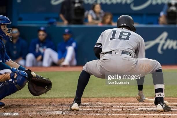 New York Yankees Shortstop Didi Gregorius does his trademark squat before batting during the regular season MLB game between the New York Yankees and...